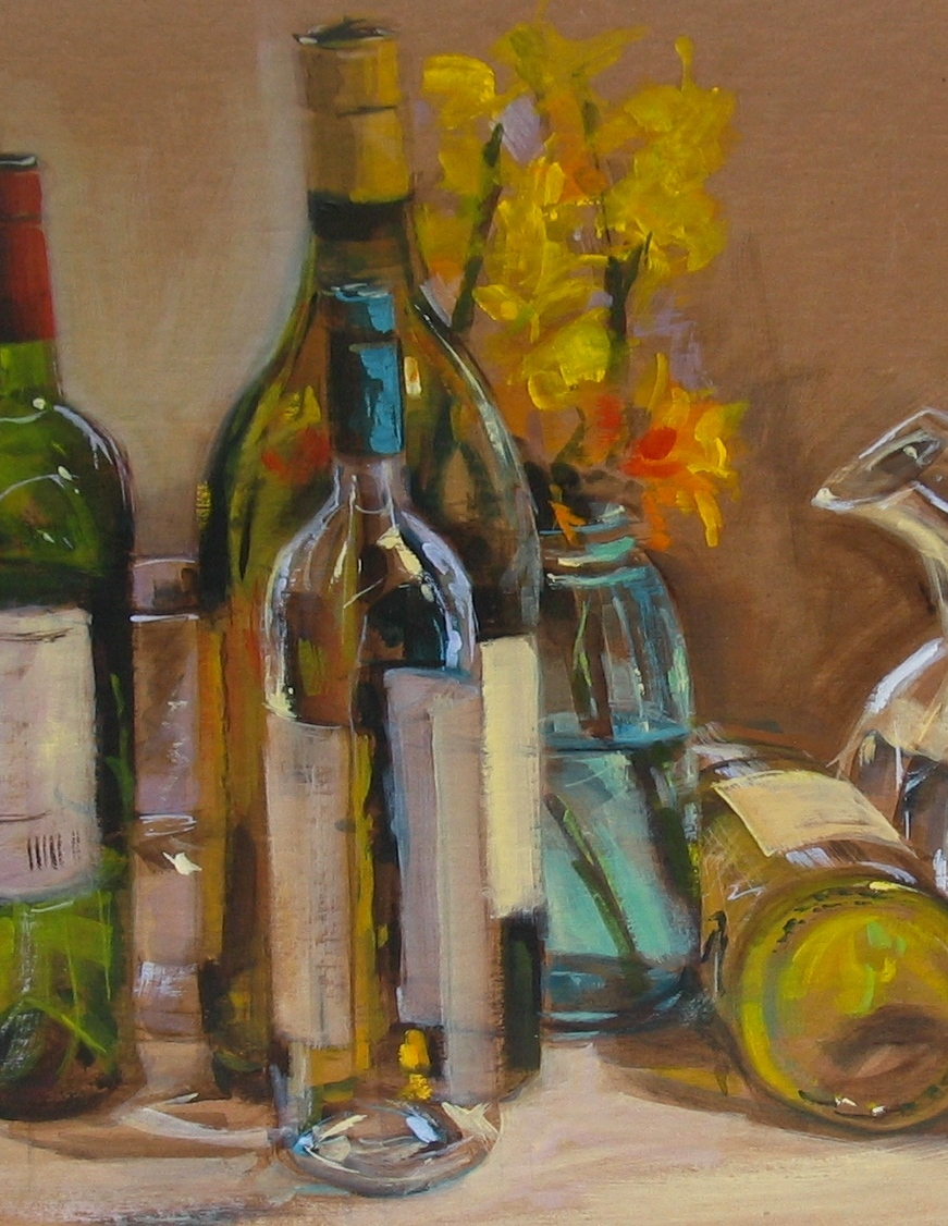 Painting transparency reflections demo in acrylic on for Can acrylic paint be used on glass bottles
