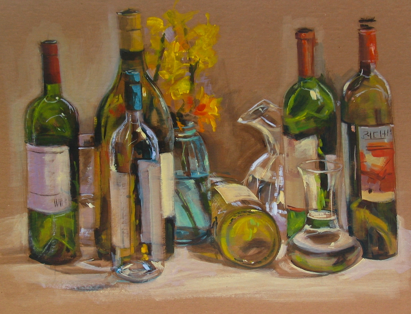 Painting transparency reflections demo in acrylic on for How to paint bottles with acrylic