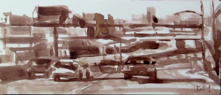 Cross Bronx Expressway II, ink wash on paper, 9x4 in.