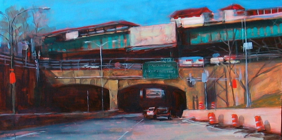 Exit 4B, Cross Bronx Expressway, Acrylic on Board | Loosen Up!