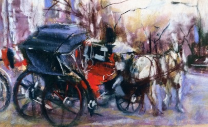 Carriage, study for a larger painting, pastel, about 6x9 in.