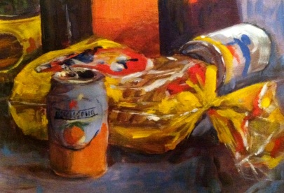 Still life demo of pantry items, acrylic on canvas, 10x7 in.