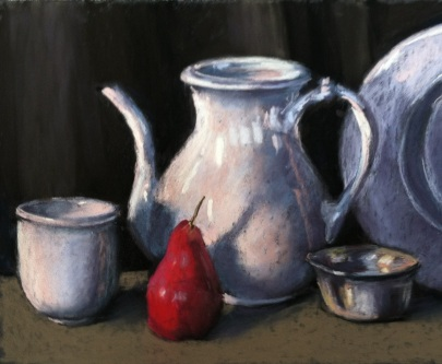 Pastel study from still life set up, to be used as a reference for a version in oil