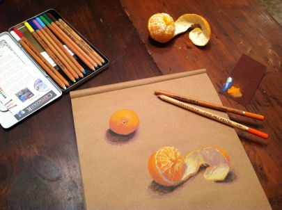Cretacolor pastel pencil on Kraft paper, study of clementines