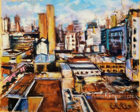 Asuncion, Paraguay - pastel study for a large commissioned painting