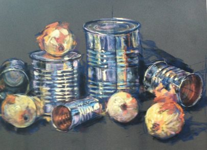 Metal Cans & Onions, pastel, 11x17 in.