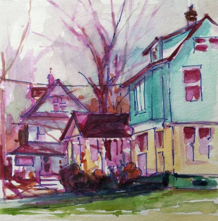 Plein Air Watercolor & Ink Study, Spring Street, Somerville, NJ