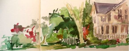 West St., Annandale, NJ watercolor sketch