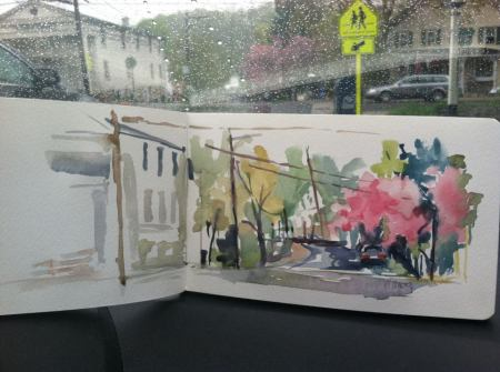 Sketch done in my Moleskine watercolor sketchbook in Clinton, NJ from my car.