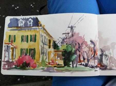 Plein air watercolor sketch, about 5 x 8.5 in Moleskine watercolor sketchbook