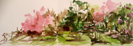 Reeves Reed Arboretum, watercolor sketch