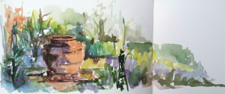 Garden Urn, Cross Estate, watercolor sketch