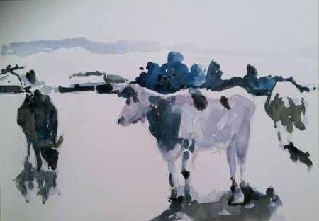 Next, I begin blocking in my middle dark and darkest values--the opposite of the way most artists work with watercolor.