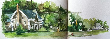 Main Street, Ludlow, VT, watercolor sketch