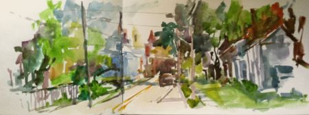 Main Street, Oldwick, NJ, watercolor sketch