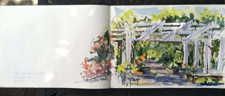 Watercolor Sketch in Moleskine watecolor notebook, Frelinghuysen Arboretum, Morristown, NJ