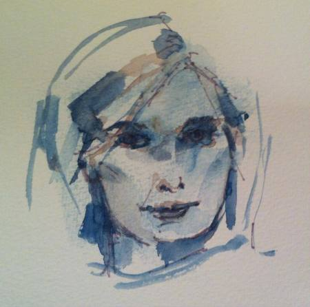 Watercolor & Grey Sharpie, 6x6 in., about 10 minutes, from looking in the mirror