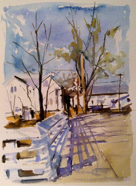 Fence & Shadows, Lambertville, NJ - studio watercolor, 9x12 in.