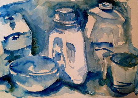 White objects, value study in watercolor, about 11x14 in.