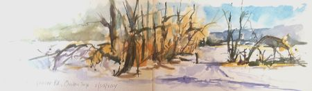 Farmer's field sketched from my car, watercolor