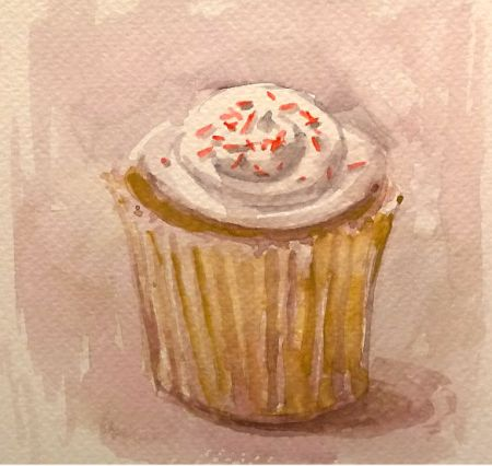 Cupcake, watercolor sketch, about 4x4 in.