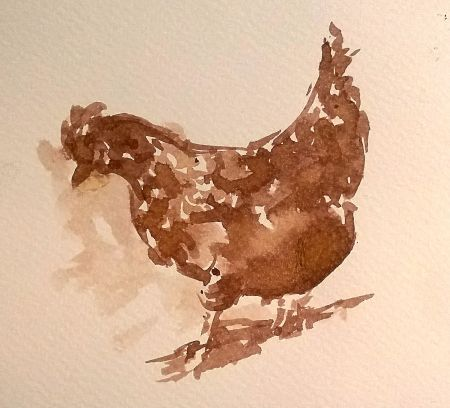 Rooster, ink, water