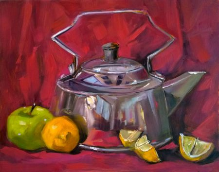Elizabeth's Teapot - oil on panel, 8x10 in. from direct observation