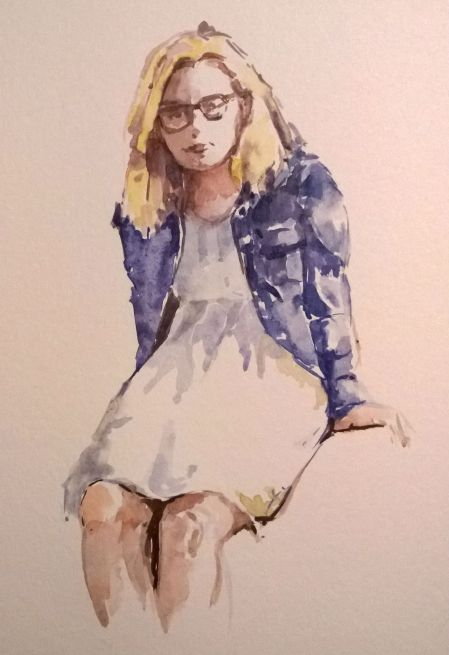 watercolor sketch from Smartphone, about 6x9 in.