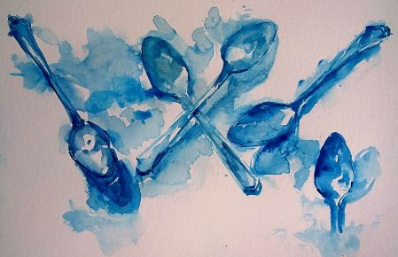 Watercolor sketch from direct observation, old spoons, 9x12 in.